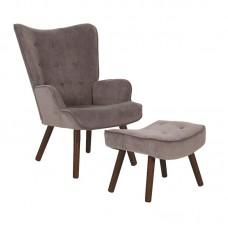 ALMA Set Armchair & Stool Walnut/Brown Velure (K/D) 1pcs