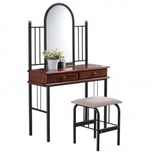 FLORA Dressing Table Set Metal Black/Wood Walnut 1pcs