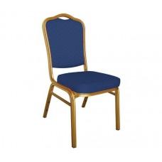 HILTON Banquet chair/Gold Metal Frame/Blue Fabric 1pcs