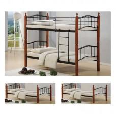 BUTTON Double Deck Bed 90x200 Metal Black/Wood Walnut 1pcs