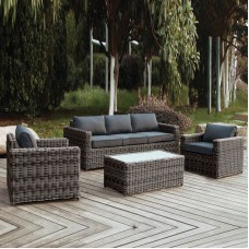 ARIZONA Set-3s Grey/Brown Wicker (Cushions Anthracite) 1pcs