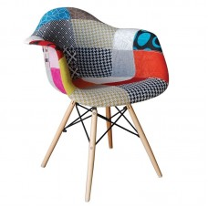 ALEA Wood Armchair PP, Patchwork Fabric 4pcs