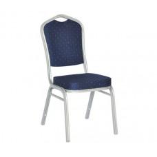 HILTON Banquet chair/Silver Metal Frame/Blue Fabric 1pcs