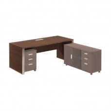 ALPINE Inox Desk 200x90cm Dark Walnut 1pcs