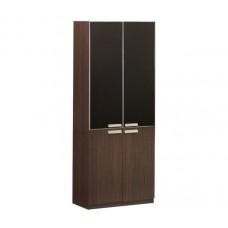 ALPINE Bookcase 80x40xH200cm Dark Walnut (black glass doors) 1pcs
