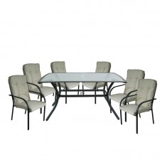 ASTOR Set (6 Chairs/Cushion Beige+Table 150x90) Steel Anthracite 1pcs