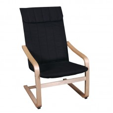 HAMILTON Armchair Natural (Birch)/Fabric Black 1pcs