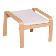 HAMILTON Footstool Natural (Birch)/Fabric White 1pcs