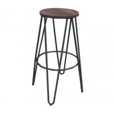 ARCO Wood Dark Oak Bar Stool Steel Black 1pcs