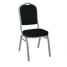 HILTON Banquet chair/Silver Metal Frame/Black Fabric 1pcs