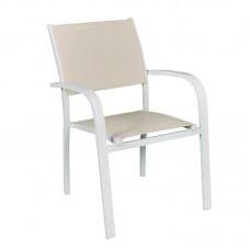 AMIRAL Armchair White Alu/Beige Textilene 1pcs