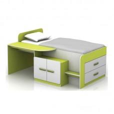 JENE Kids Bed - Office Set White/Lime 1pcs