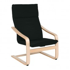 HAMILTON PLUS Armchair Natural (Birch)/Fabric Black (removable cushion) 1pcs