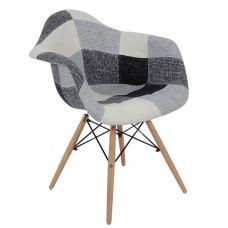 ALEA Wood Armchair PP, Patchwork Fabric B&W 4pcs