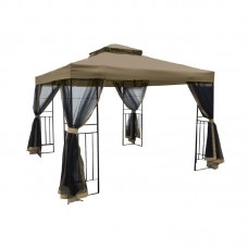 GAZEBO w/Black Mosquito net 3x3m Steel Anthracite/Fabric Beige 1pcs
