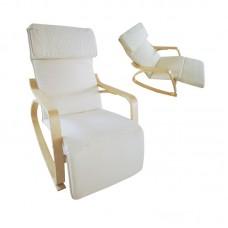 HAMILTON Super Relax Armchair Natural (Birch)/Fabric White 1pcs