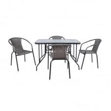 BALENO Set (Table 110x60cm+4 Armchairs) Steel Grey /Mixed Grey Wicker 1pcs